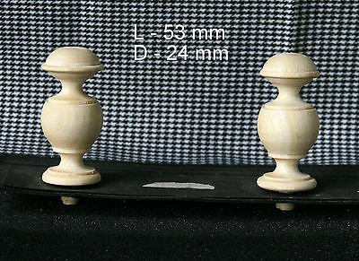 2 Wood FINIALS 53 mm for Antique Wall Clock / Barometer / Mirror / Furniture #13