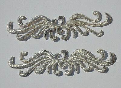 2pcs Silver Scroll 9cm(Fault) Embroidered Sew Iron On Cloth Patch Badge APPLIQUE