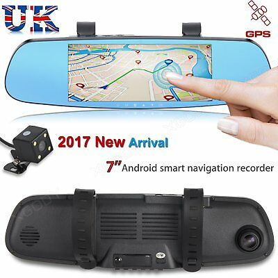 "HD 1080P 7"" Dual Lens Car Rearview Mirror DVR Dash Camera Recorder GPS Navigator"