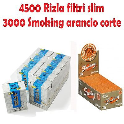4500 FILTRI RIZLA SLIM 6mm + 3000 CARTINE SMOKING ARANCIONI CORTE + accendino