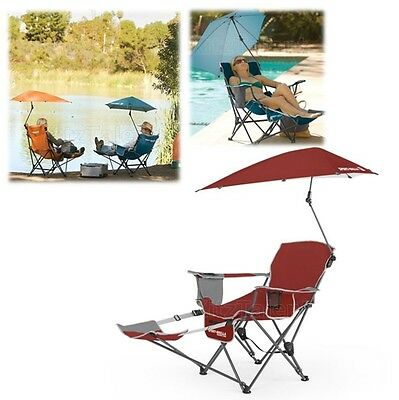 Folding Beach Umbrella Chair Footrest Beverage Holder Picnic Fishing Camping NEW
