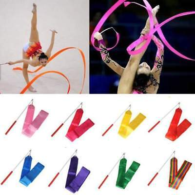 10 Colors Gym Ribbon Dance Rhythmic Art Gymnastic Streamer Baton Twirling Rod