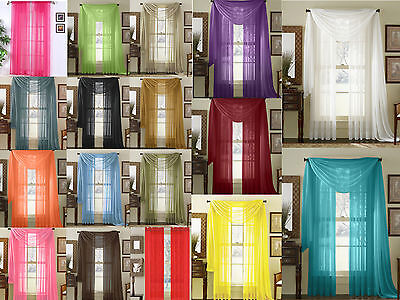 "Empire Home Sheer Voile Window Treatment Curtain Panel Drapes Solid 84"" Long"