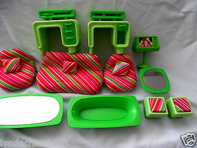 Vintage 1970'S Green Barbie Furniture Set by Mattel (14 PIECES)