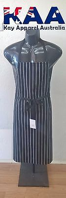 Butchers Apron Bib Black White Vertical Pinstripe 105x80cm KINGAROY QLD Butchers