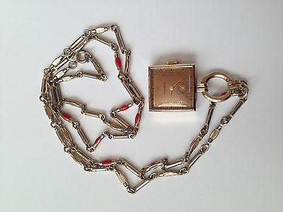 Vintage Swiss Made Adjusted MONROE Pendent Luxury Watch Silver Mint Condition