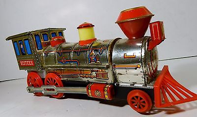 Vtg Tin Toy Train Masudaya Western Great Working Condition