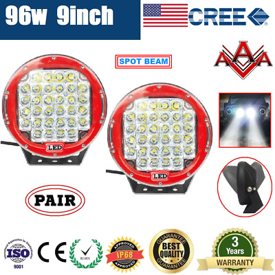 2x 9inch 96W CREE LED DRIVING LIGHT OFF ROAD ROUND SPOT LIGHT WORK CAR AUTO LAMP