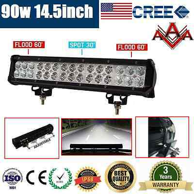 14.5inch 90W CREE LED LIGHT BAR FLOOD SPOT OFFROAD DRIVING WORK LIGHT AUTO LAMP