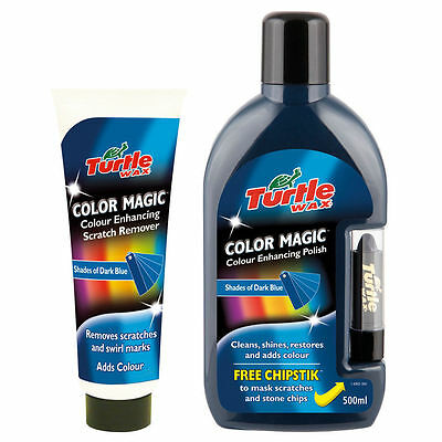 Turtle Wax Dark Blue Colour Magic Polish With Chipstick And Scratch Remover Set