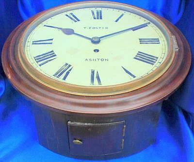 "T Foster Ashton Antique Concave Mahogany English Fusee 12"" Dial Clock Serviced"