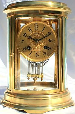 Bailey Banks & Biddle Co Antique French Oval Four Glass Crystal Regulator Clock