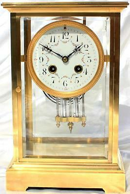 Tiffany & Co Antique Japy Freres Classic Four Glass Crystal Regulator Clock