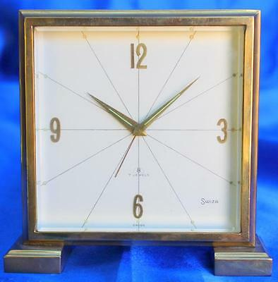 Art-Deco 7 Jewels Swiss 8 Day Alarm Timepiece Desk Travel Mantle Clock By Swiza