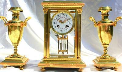 Tiffany & Co Antique French Four Glass Crystal Regulator Garniture Clock Set