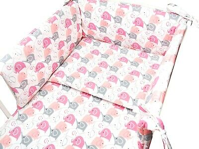 Baby Bedding Set Cot 120x60 CotBed 140x70 Toddler, Curtains, Elephants on Pink
