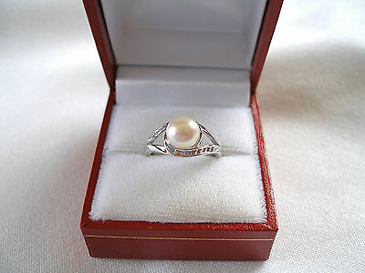 7 mm Pearl Solitaire & Diamond  10k White Gold Ring