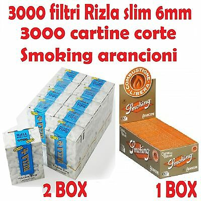 3000 FILTRI RIZLA SLIM 6mm + 3000 CARTINE SMOKING ARANCIONI CORTE + accendino