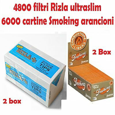 4800 Filtri Rizla Ultraslim + 6000 Cartine Smoking Arancioni