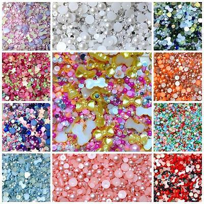 Mixed Flatback Embellishments Pearls Gems Rhinestones Decoden Cardmaking Crafts