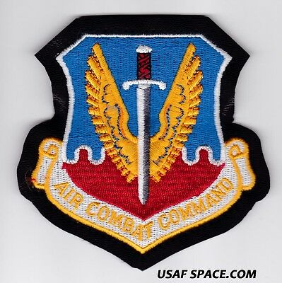 """USAF AIR COMBAT COMMAND -4 x 4"""" on LEATHER - ORIGINAL AIR FORCE PATCH"""