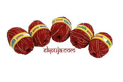 Sacred Red Thread MAULI KALAWA HINDU RELIGIOUS COTTON WRIST BAND KALAWA X 5