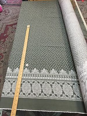 "100% Rayon challis Olive color w One paisley border 60""W"