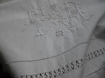 "ANTIQUE FRENCH BOLSTER - LARGE MONOGRAM ""TA"" - White Embroidery"