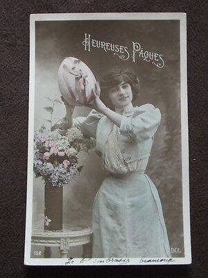 Woman With Large Easter Egg - Tinted  - Vtg 1908 French  Real Photo Postcard