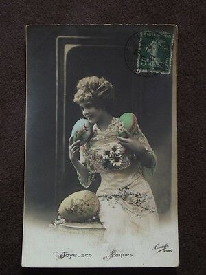 Woman With Large Easter Eggs - Tinted  - Vtg 1911 French  Real Photo Postcard