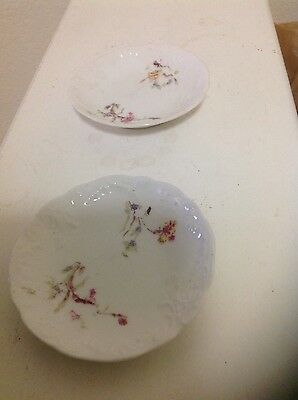 "Pair of Antique 3"" Wheelock Vienna Austria Plates; Flowers; Raised Design on Rim"