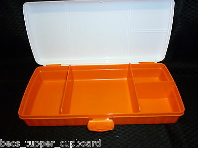 Tupperware Sandwich Keeper Plus Lunch Box with compartments Orange & White New