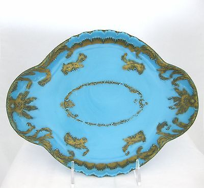 Georgeous Vintage Blue Milk Glass Tray with Raised and painted details