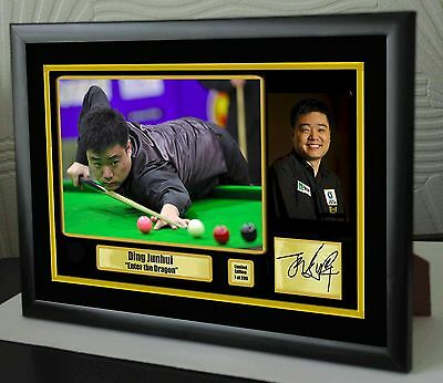 """Ding Junhui """"Star of the East"""" Snooker Framed Canvas Print Signed.""""Great Gift"""""""