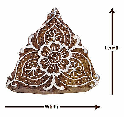 Floral Decorative Printing Blocks Wooden Hand Carved Block Indian Stamp PB2541A