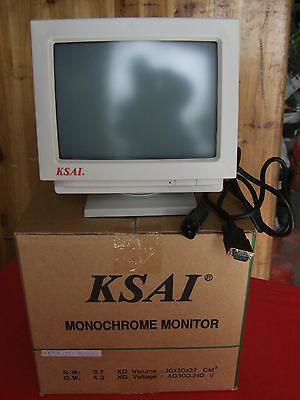 "Ksai M0935 10"" Monochrome Monitor (Vga) Video Sorveglianza (Nuovo)"