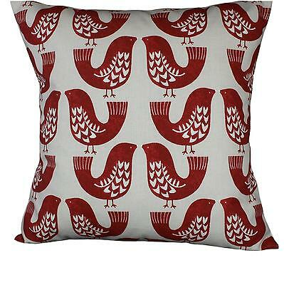 "Cushion cover in Scandi Birds Red fabric 17"" / 43cm square. 100% cotton"