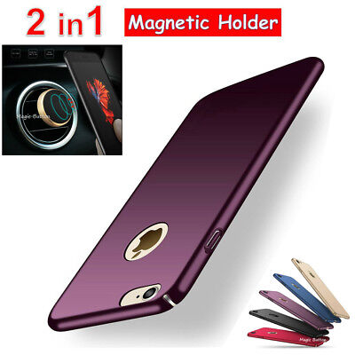 Thin Slim Hard Cover Magnetic Car Holder Case For Iphone 5 5s SE