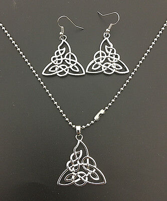 Celtic Triquetra Irish Trinity Knot Stainless Steel Necklace Earrings Set