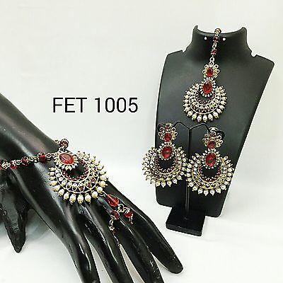 Exclusive Indian Earrings n Tikka & Bracelet Combo Set, FET-1005