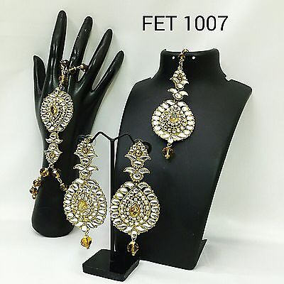 Exclusive Indian Earrings n Tikka & Bracelet Combo Set, FET-1007