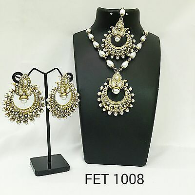 Exclusive Indian Earrings n Tikka & Bracelet Combo Set, FET-1008
