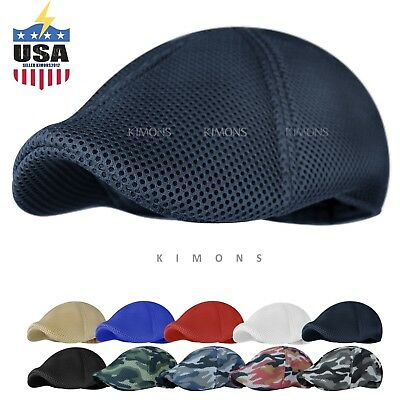 9612fcb01dc Soft Mesh Newsboy Gatsby Cap Mens Ivy Hat Golf Driving Summer Sun Flat  Cabbie