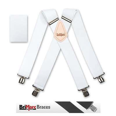 "Brimarc Mens Heavy Duty Belt Trouser Suspender 2"" 50mm Wide White Elastic Braces"