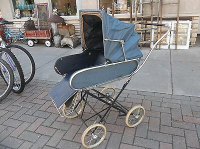 Vintage CAJA Baby carriage Buggy & Stroller Pram Navy Blue Holland 1950s