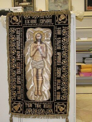 Antique Tapestry Icon Russian Orthodox Shroud Church Epitaphios Liturgical