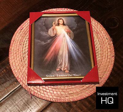 DEVINE MERCY OF JESUS. Christian Picture in Gold Frame 255 x 205 MM