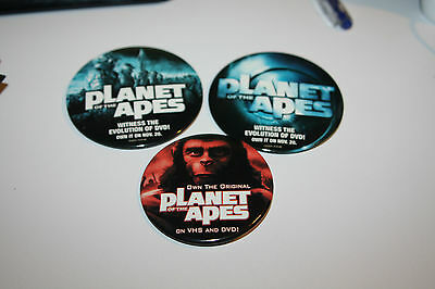 Lot of 3 Planet of the Apes Movie Promo Pinback pin great condition