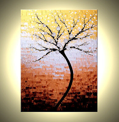 ORIGINAL Abstract Gold Silver Blossoms TREE Impasto Landscape Painting - 30x40