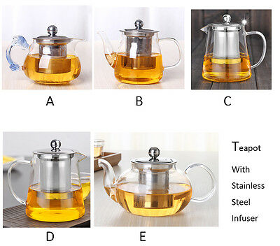 Variant Glass Teapot with Stainless Steel Infuser Steeping Herbal Tea Kettle